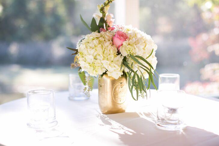 Pink and white flower arrangements in gold mason jars mightylinksfo