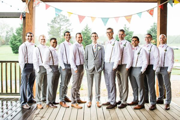 Gray Pants, Leather Suspenders Groomsmen Attire