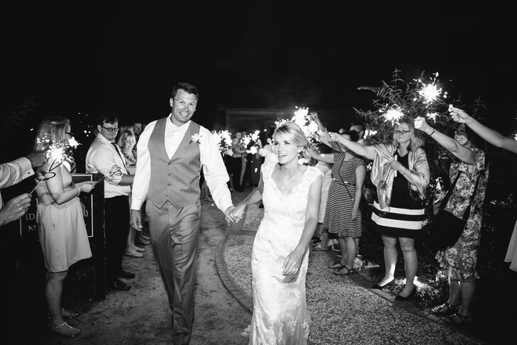 Guests lit the way with sparklers as the couple made their grand exit.