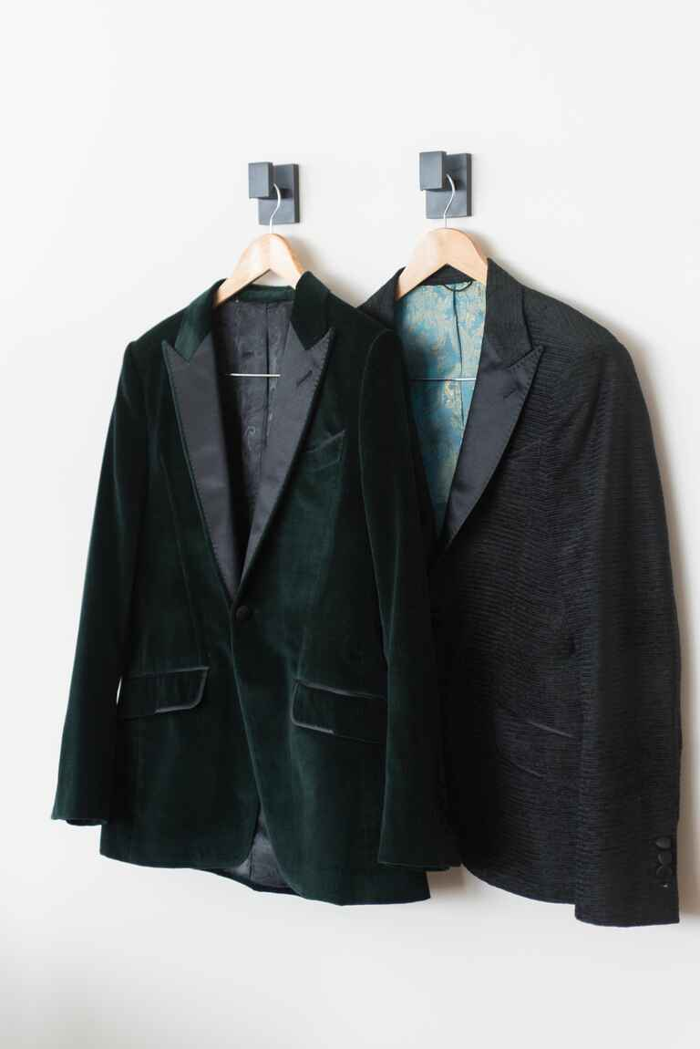 Two groom's jackets winter wedding