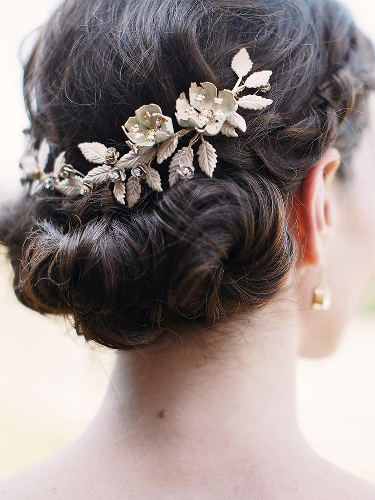 Low chignon updo idea for brides or bridesmaids