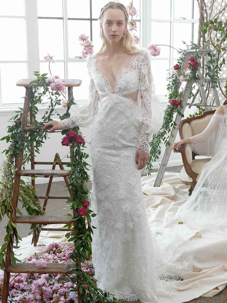 Marchesa Notte Bridal Spring 2018 column wedding gown with beaded embellishments
