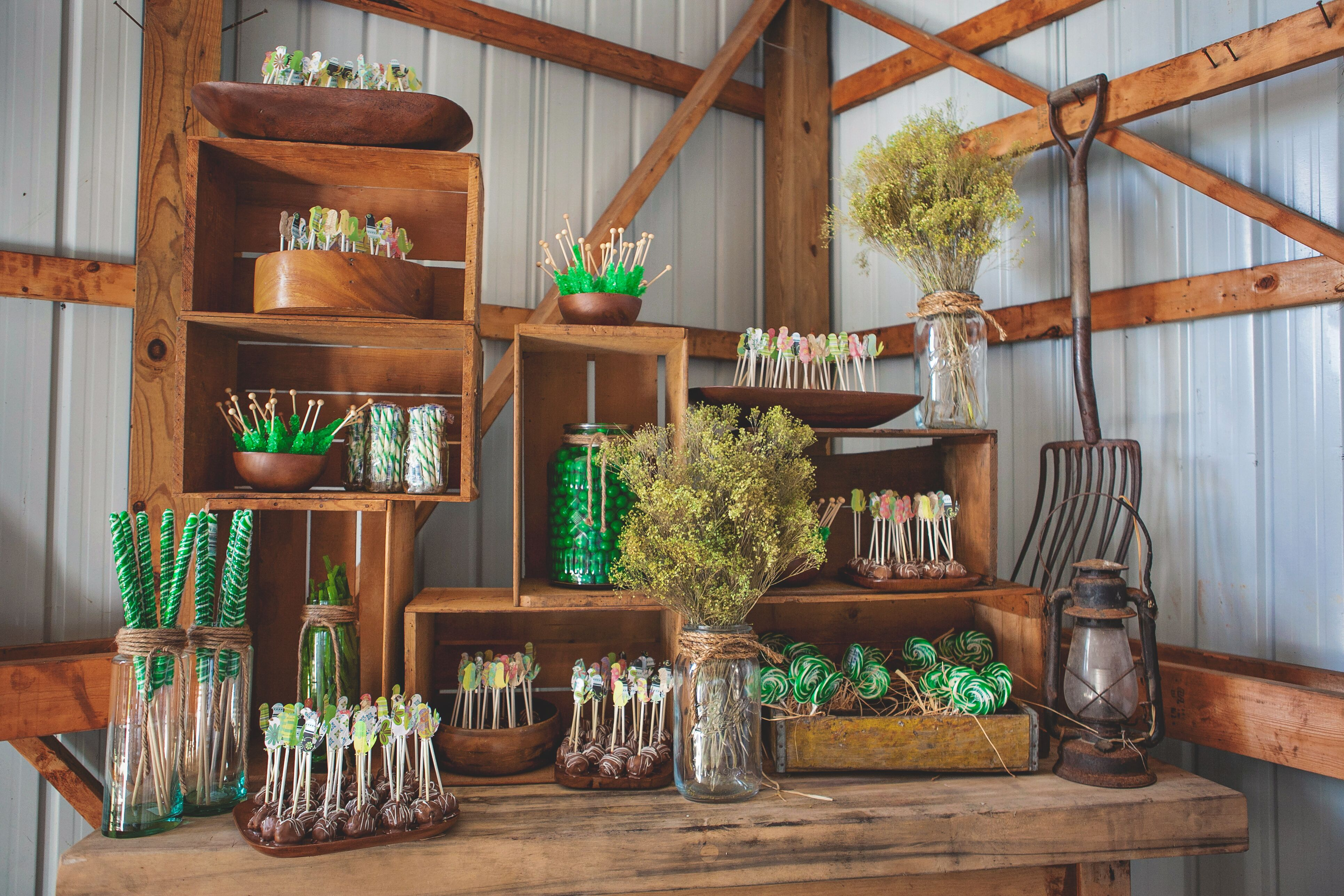 Wood Dessert Table ~ Rustic wooden dessert table with green candy