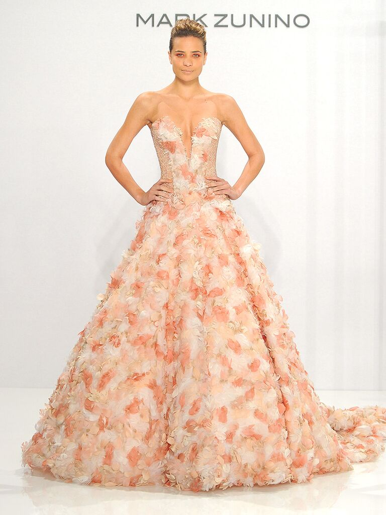 The prettiest blush and light pink wedding gowns blush pink strapless wedding gown with floral embellishments by mark zunino ombrellifo Image collections