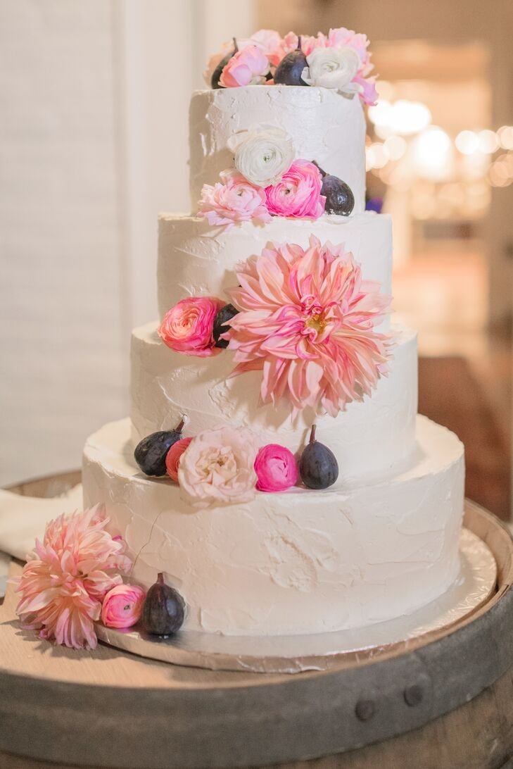 Buttercream Wedding Cake with Flowers and Figs