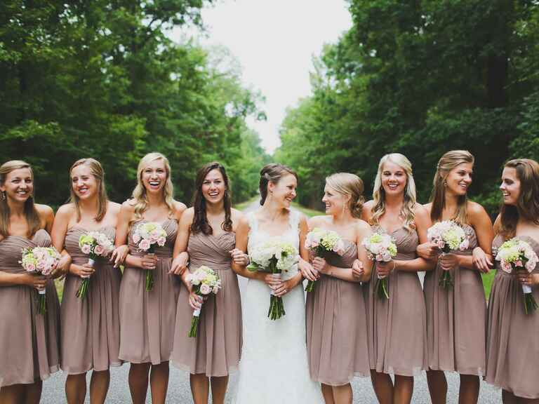 Matching mauve bridesmaid dresses