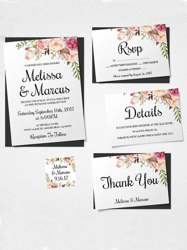 16 printable wedding invitation templates you can diy boho florals printable wedding template