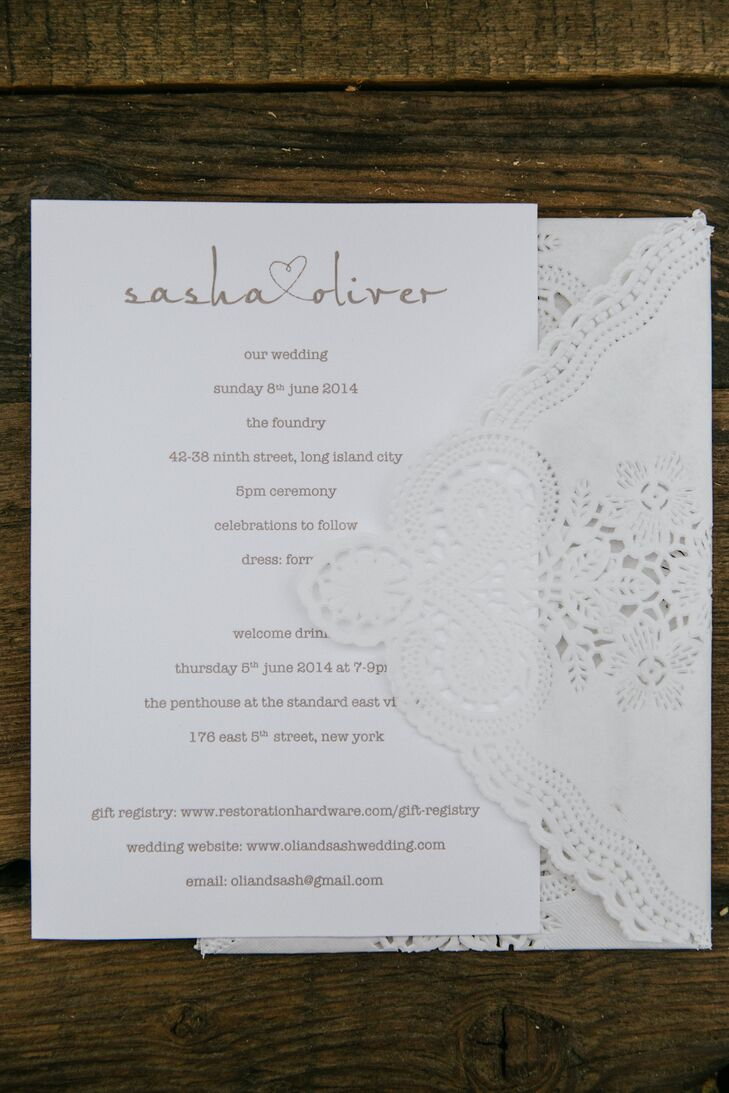DIY White Wedding Invitations with Lace Envelope