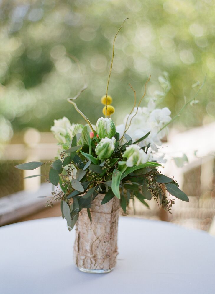 Green Floral Centerpiece with Craspedia