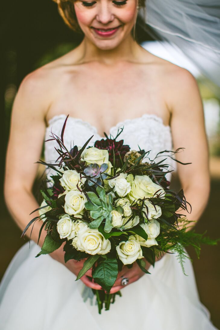 Textured White Rose Bouquet