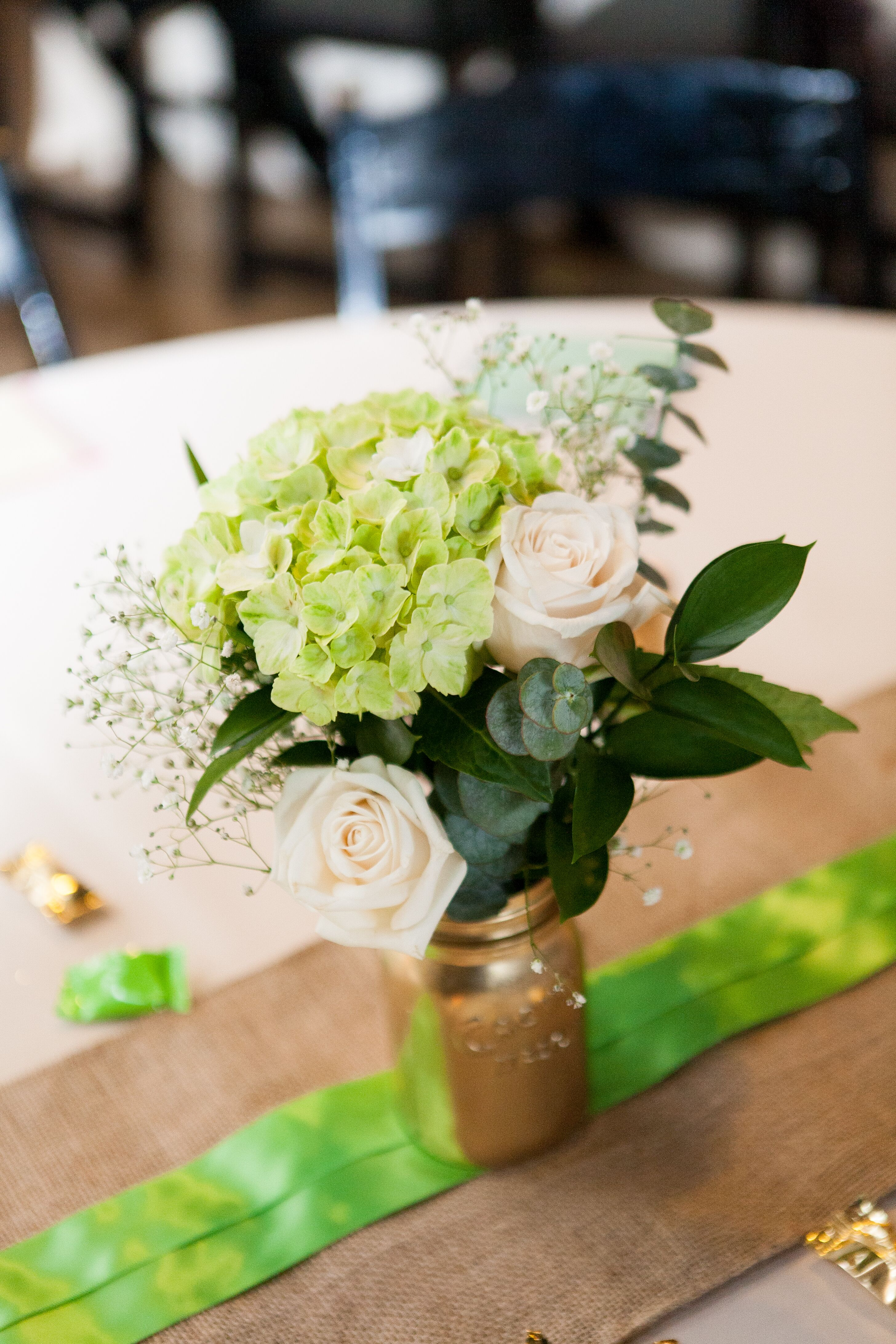Diy green hydrangea and ivory rose centerpieces