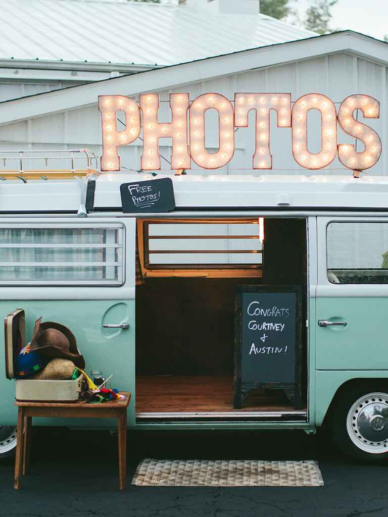 Vintage volkswagen photo booth at a rustic wedding