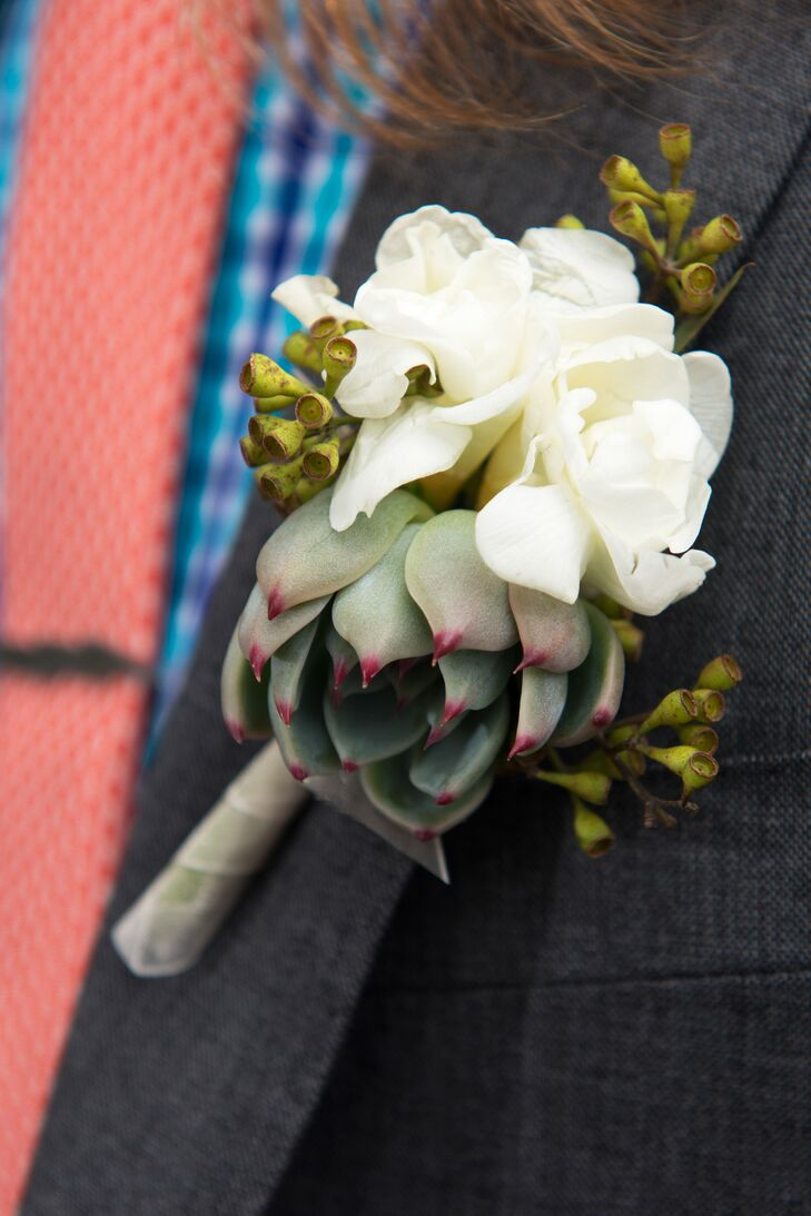 White Flower And Succulent Boutonniere