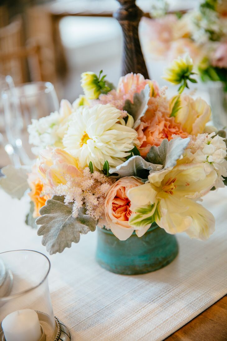 Low garden rose lily and dahlia centerpiece