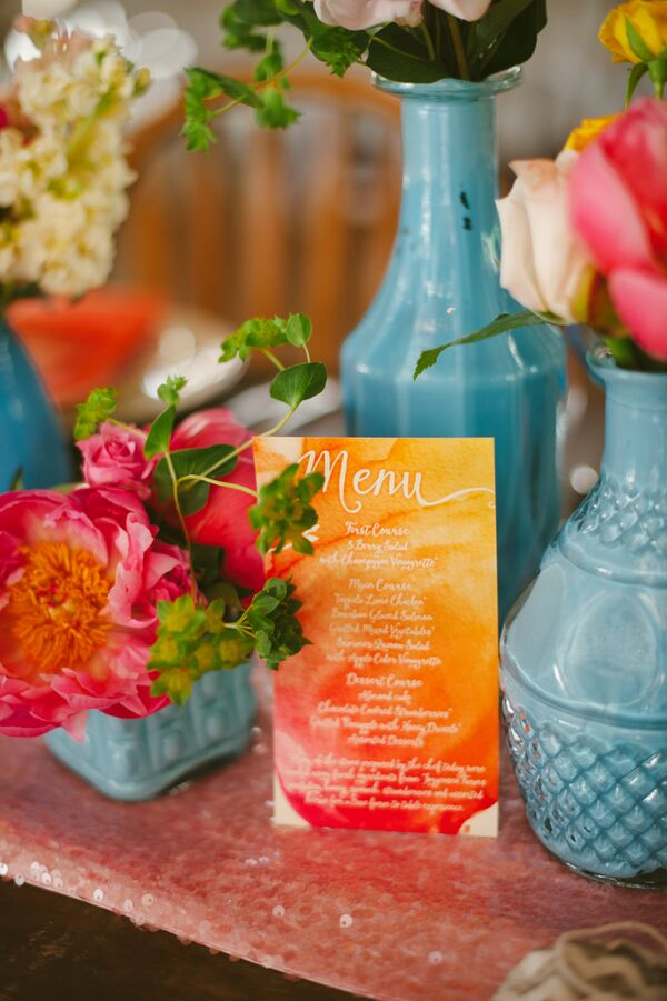 Orange and Pink Watercolor Menu Card