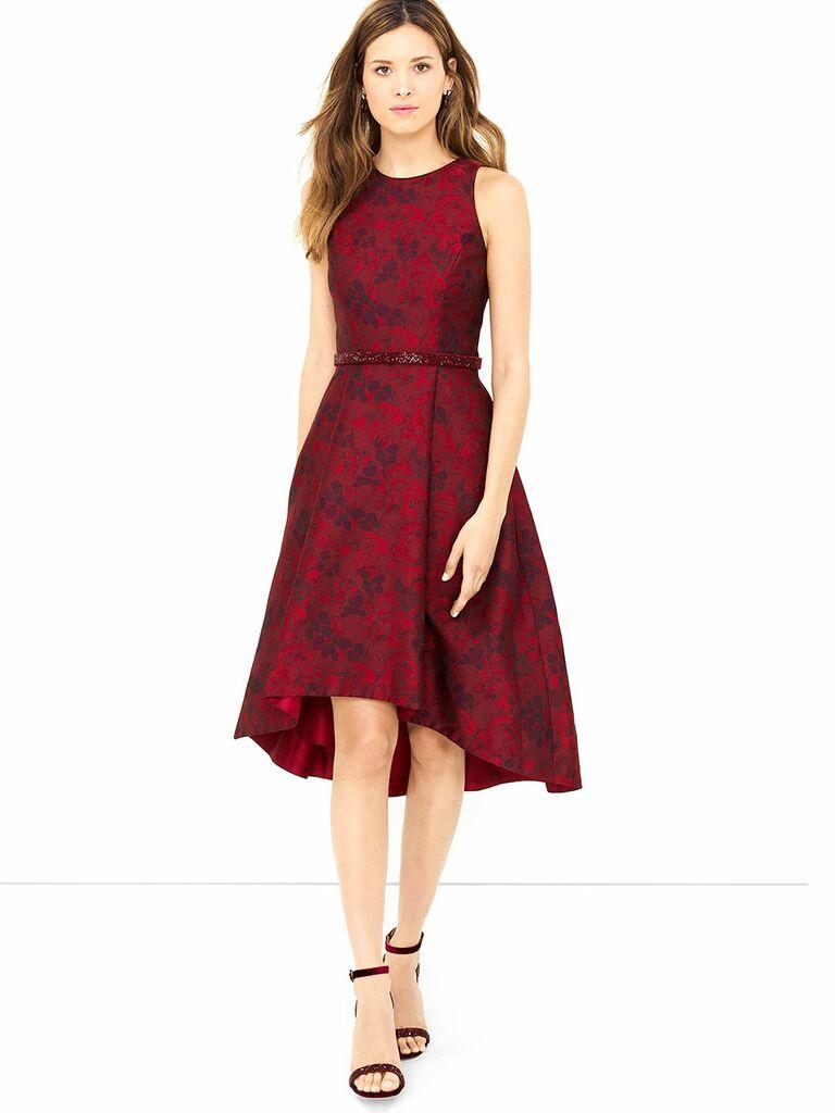 Red dress heels plum color
