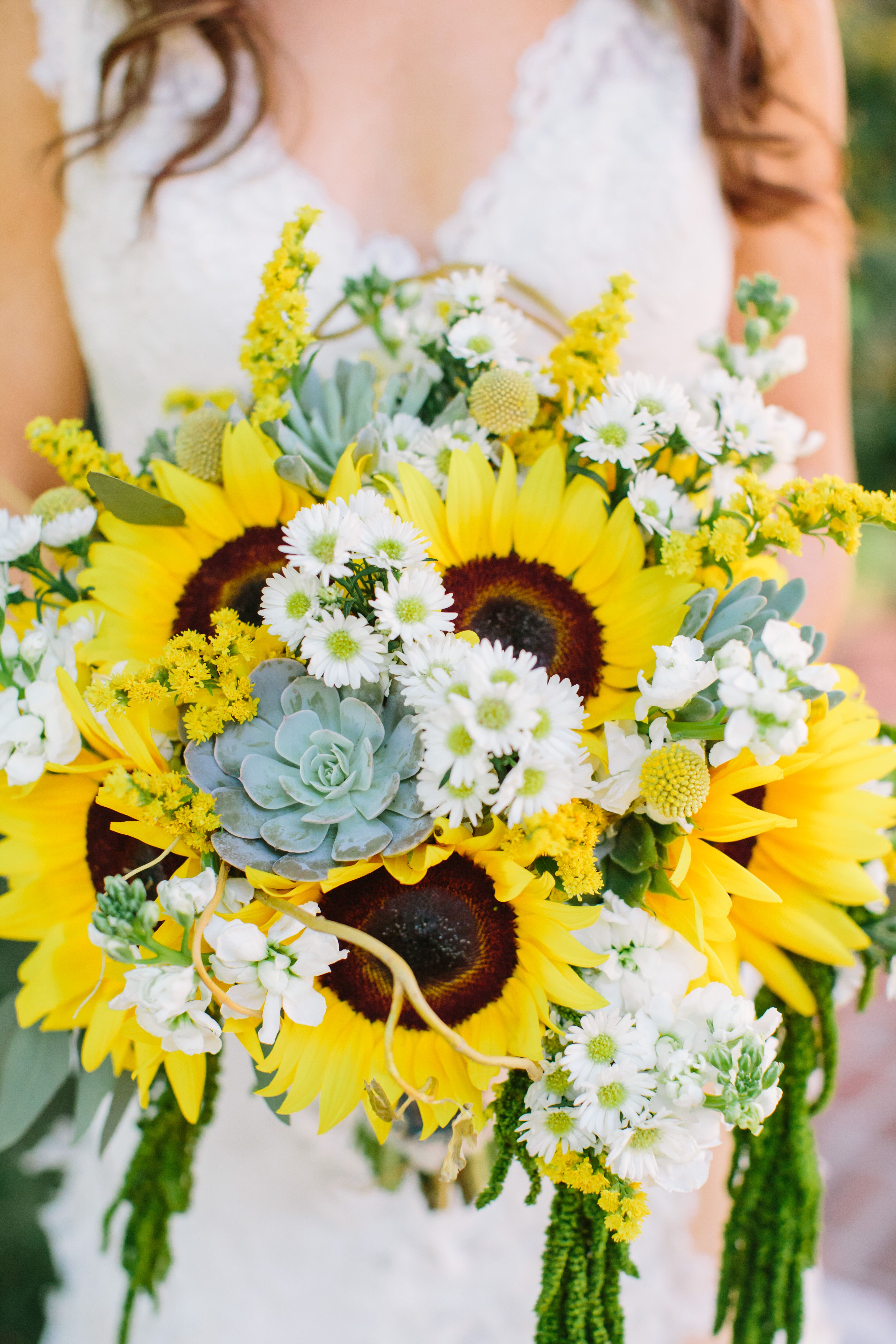 Bright Sunflowers Succulent And Daisy Bouquet