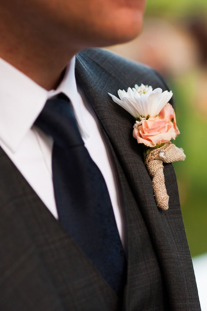Daisy and Peach Rose Boutonniere