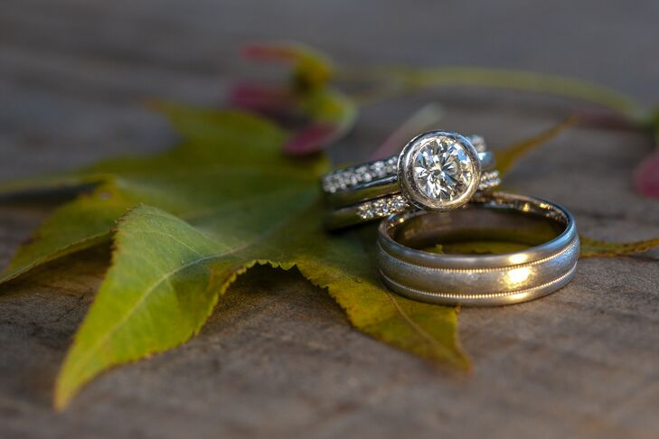 Engagement Ring, Wedding Ring and Band