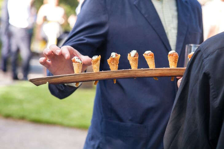 """After the toast, guests walked down to a separate area for a cocktail reception featuring ahi tartare in crispy cones and mahogany lacquered duck on sweet potatornpancakes,"" says Kirstin."