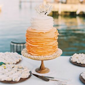 Beach wedding cakes orange and white ombre ruffle wedding cake junglespirit Gallery