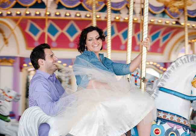 Prince Charming Regal Carrousel at Disney World Engagement Photo | Catherine Ann Photography | From blog.theknot.com