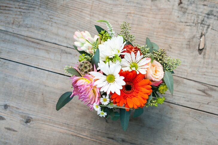 Colorful Daisy and Rose Centerpiece