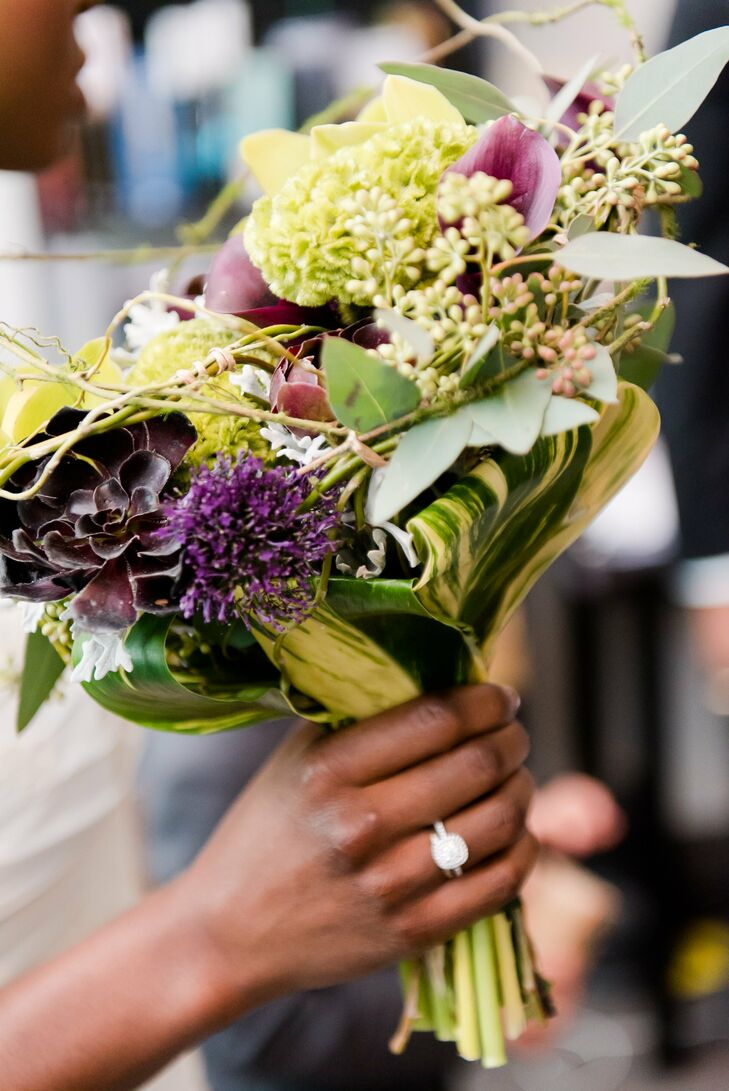 Wild Purple and Green Bridal Bouquet