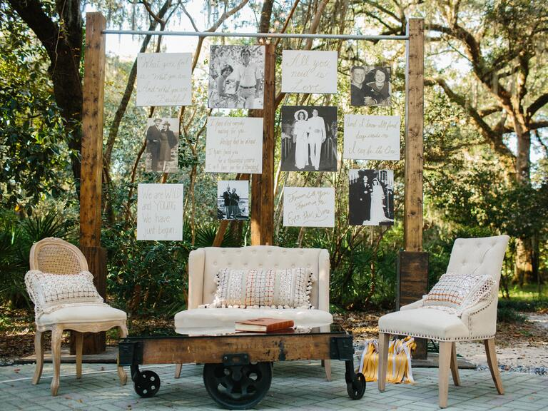 Family photo wall at wedding reception lounge