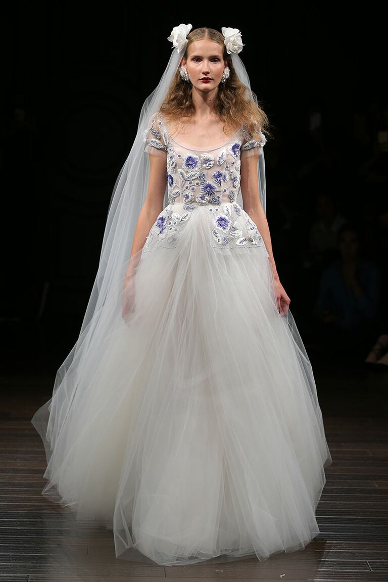 Naeem Khan Fall 2017 Purple And White Tulle Ball Gown Wedding Dress