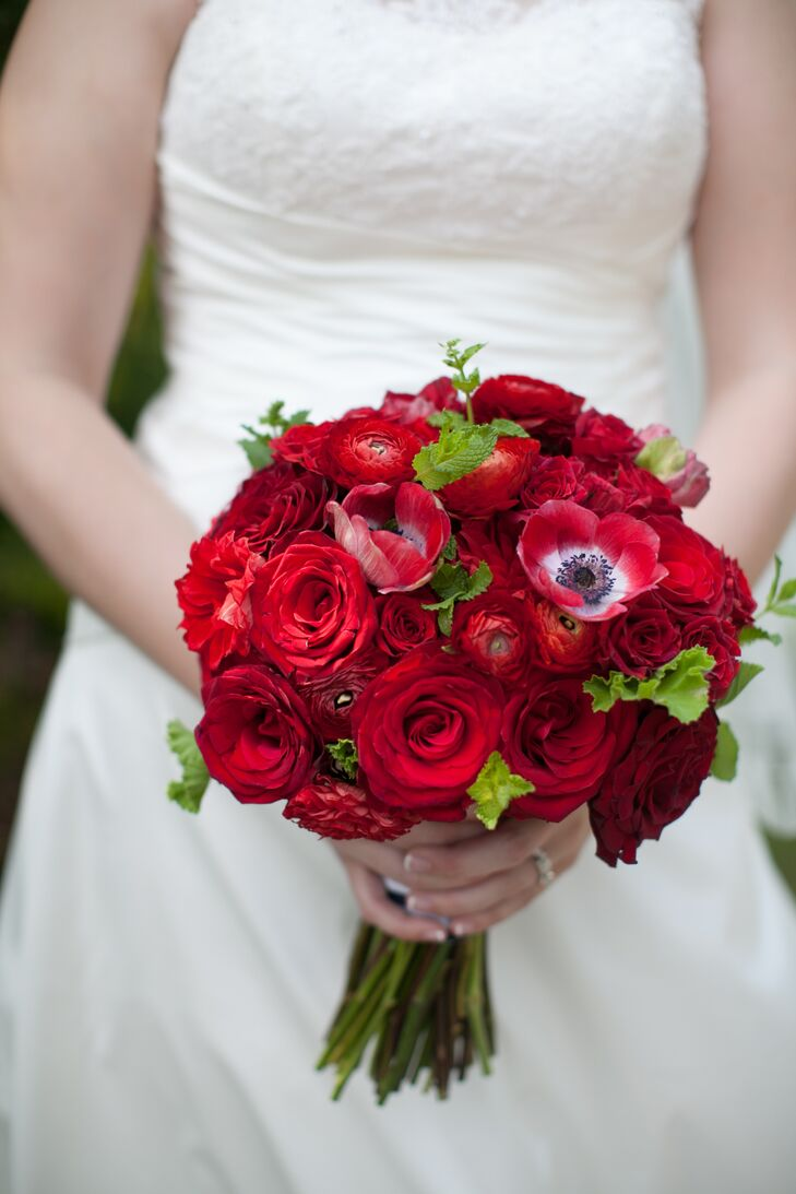 Red rose anemone ranunculus bridal bouquet