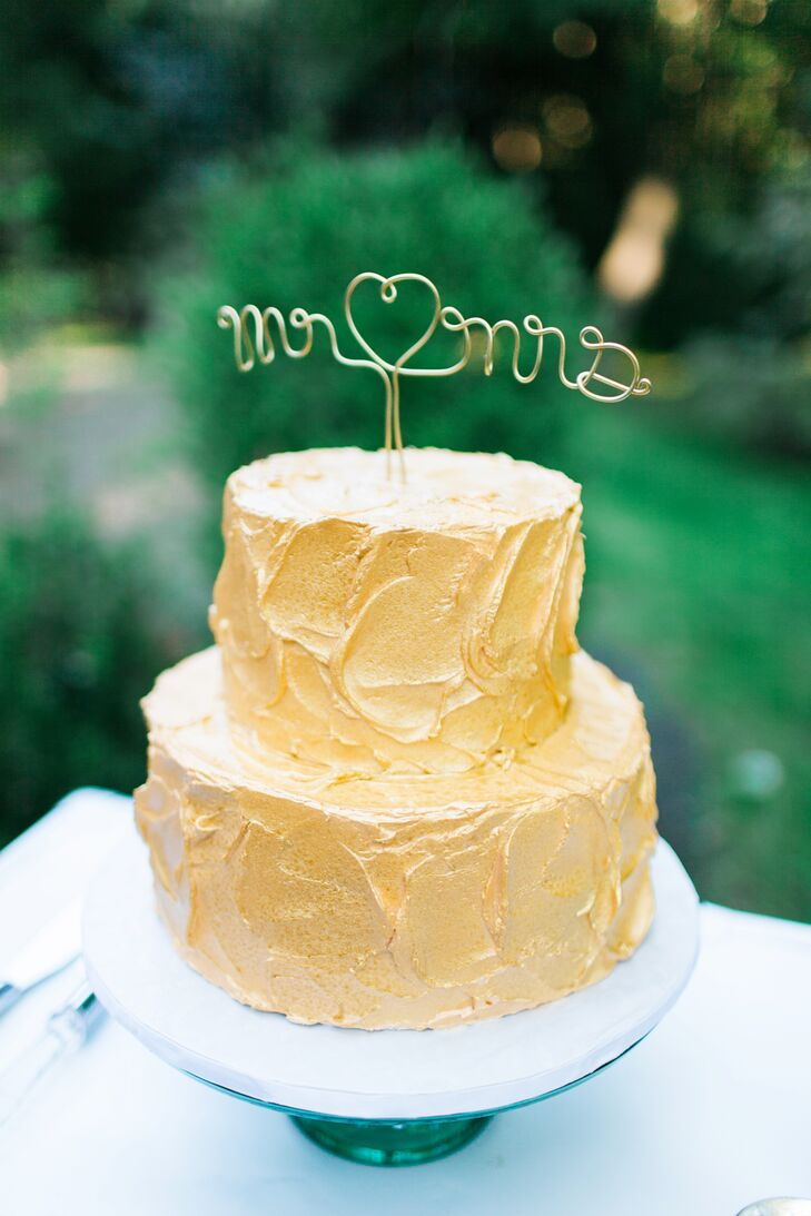 Gold Frosted Two-Tier Wedding Cake