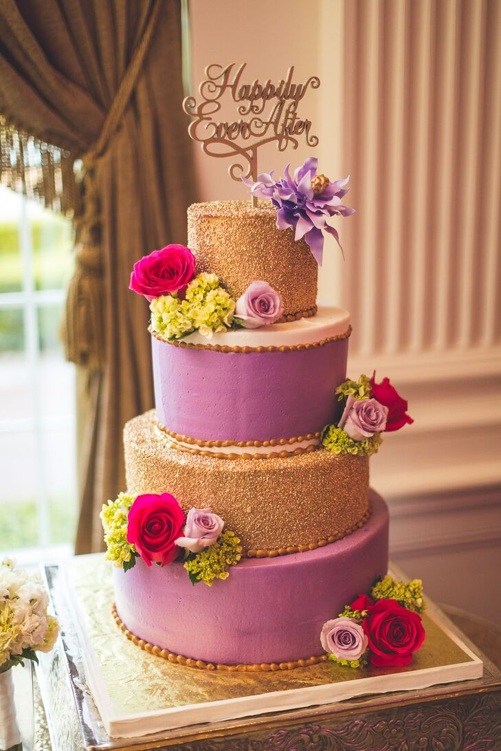 Glam Purple and Gold Wedding Cake