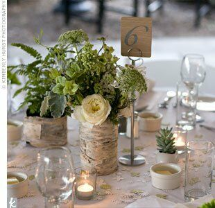 earthy reception centerpieces. Black Bedroom Furniture Sets. Home Design Ideas