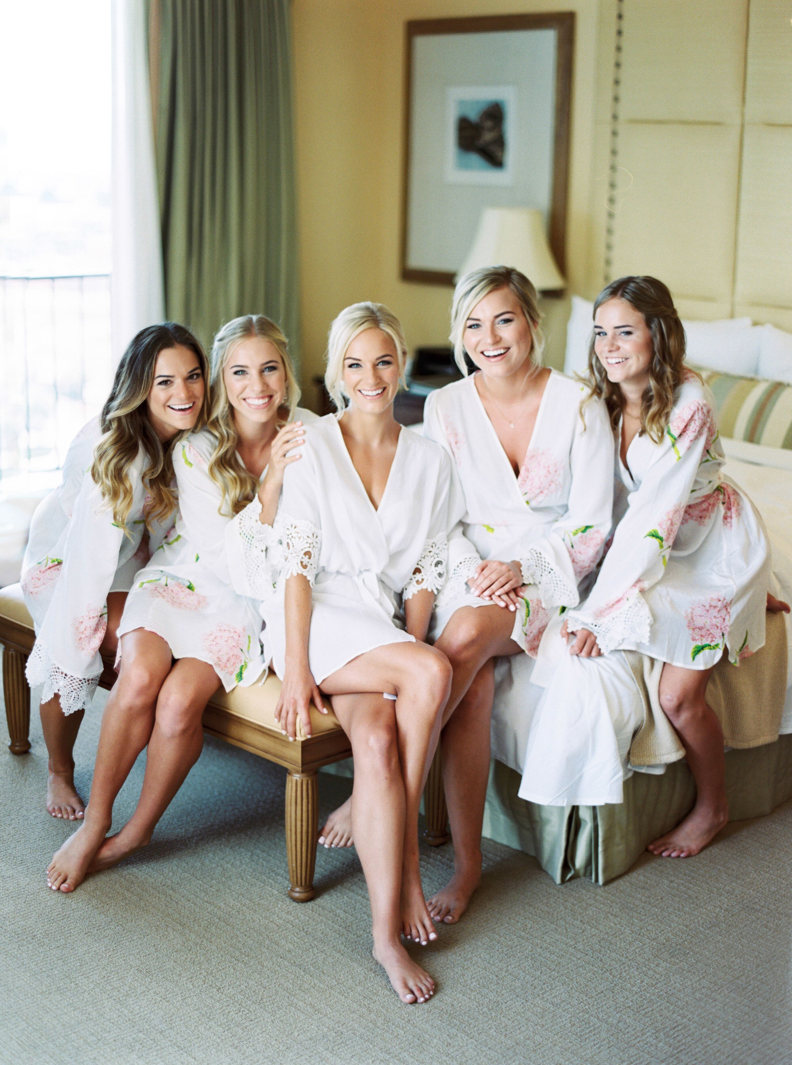Romantic Hotel Room Ideas: Bridesmaids In Silk Robes Getting Ready