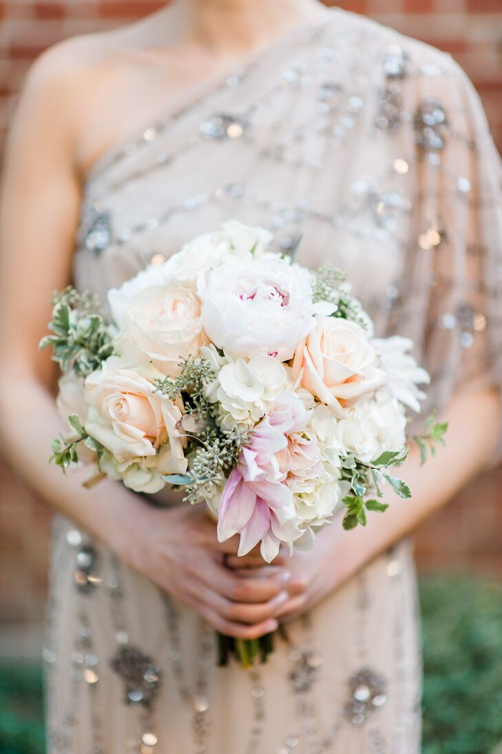Champagne Dahlia and Peony Bridesmaid Bouquet