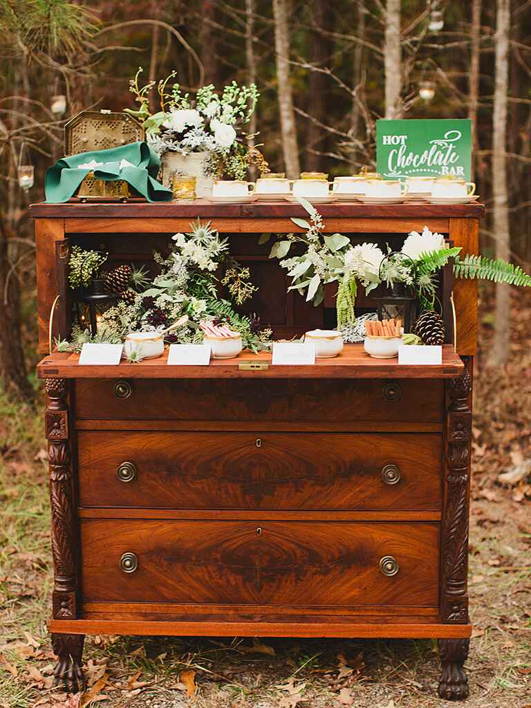 Outdoor rustic wedding venue favor display