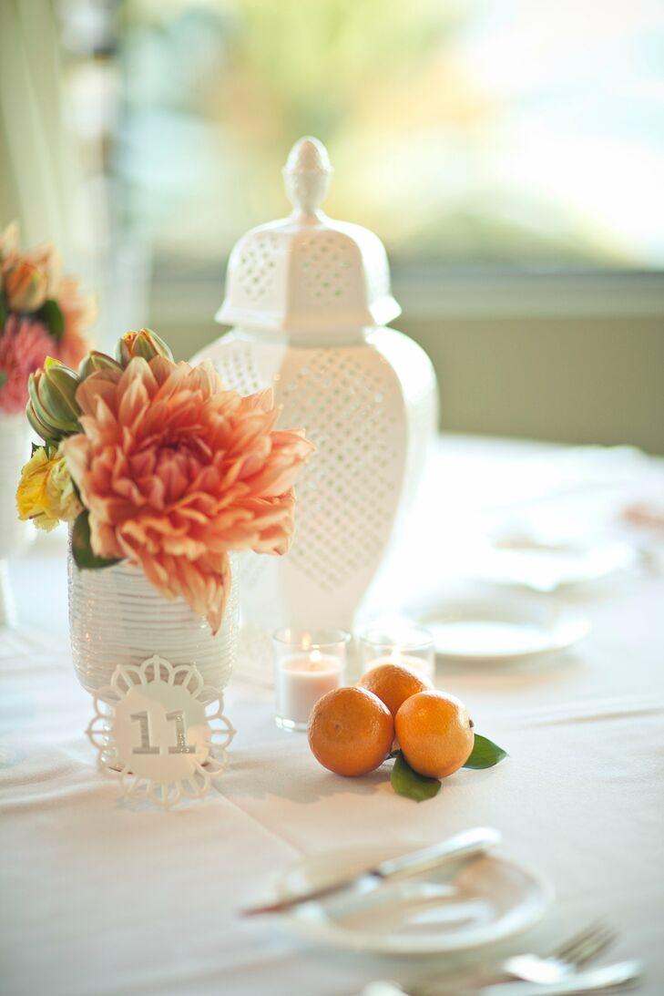 White and Orange Wedding Decor