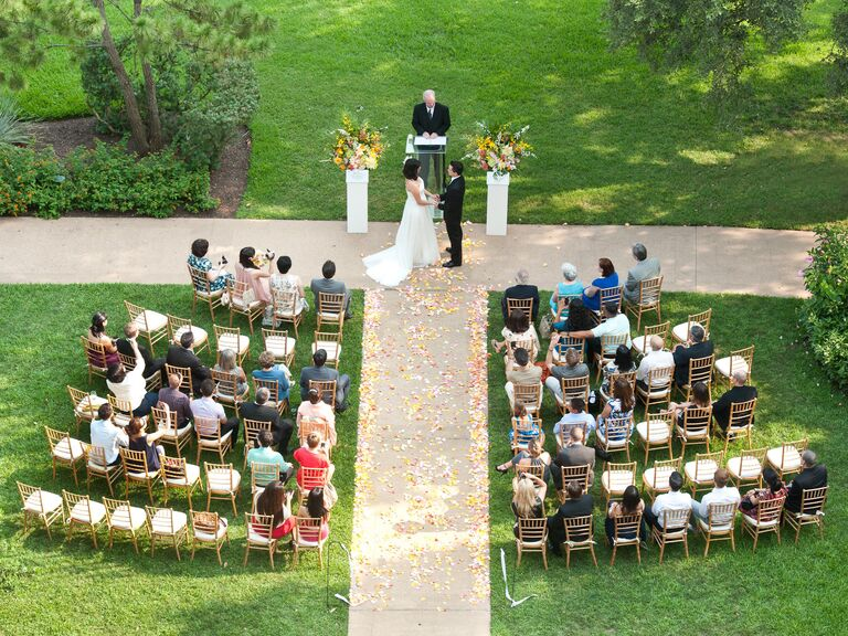 Overhead picture of a small outdoor wedding ceremony