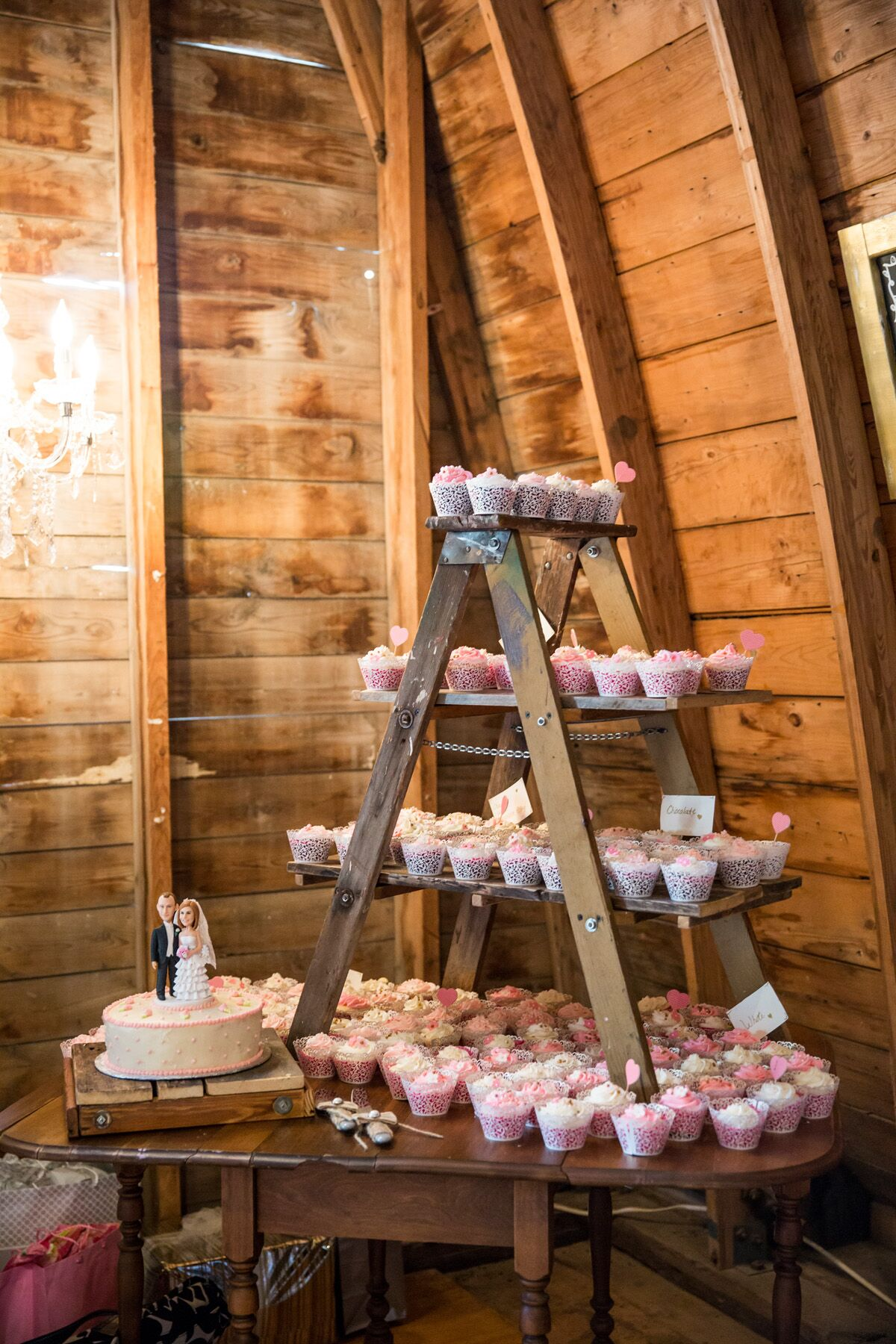 Rustic Wooden Ladder Cupcake Table Display