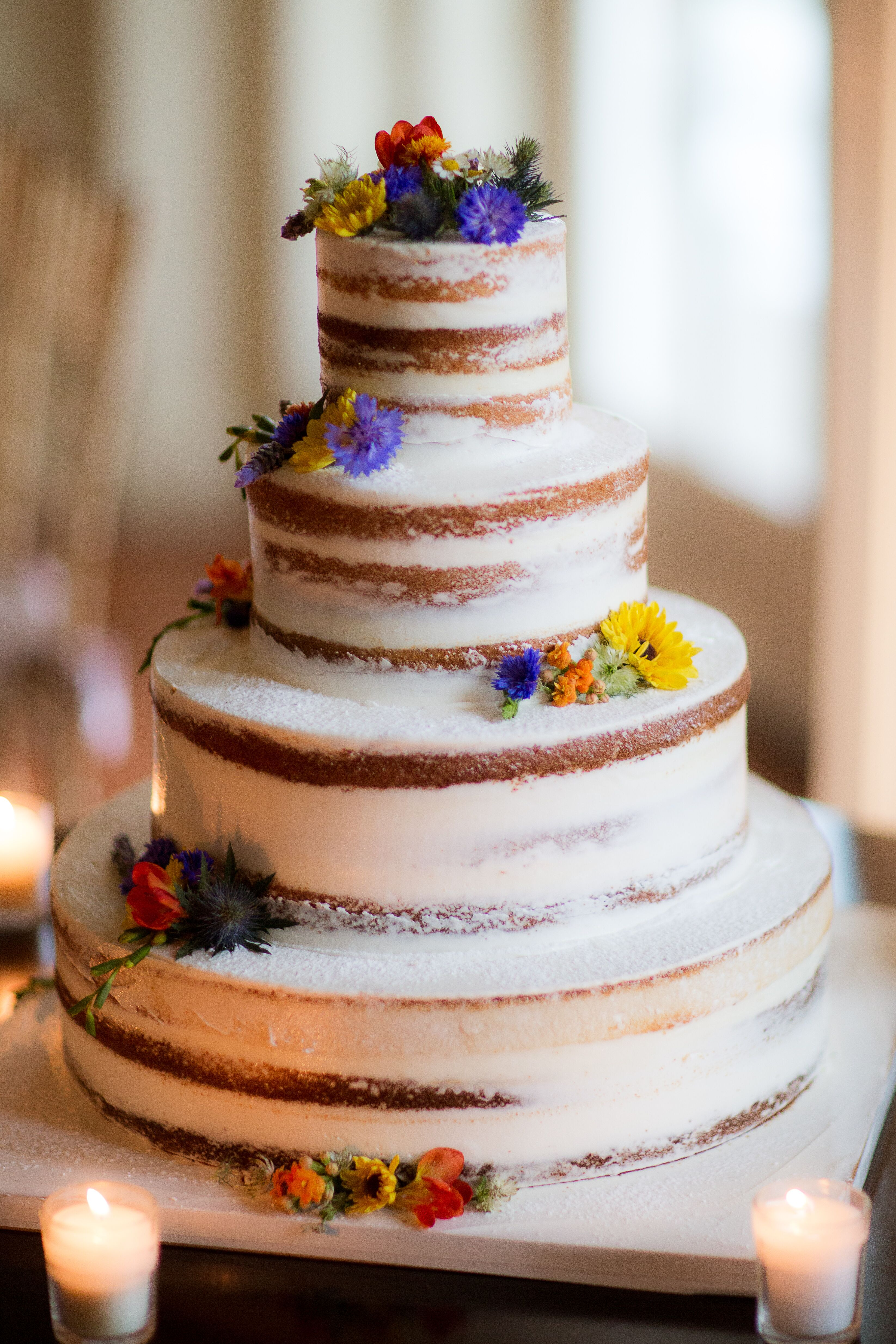 Colorful Wildflower Accented Naked Cake-1839