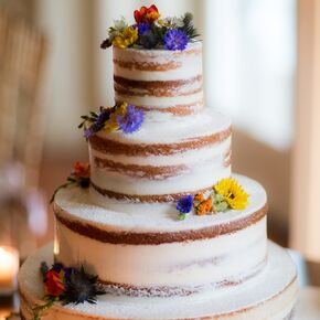Colorful Wildflower Accented Naked Cake