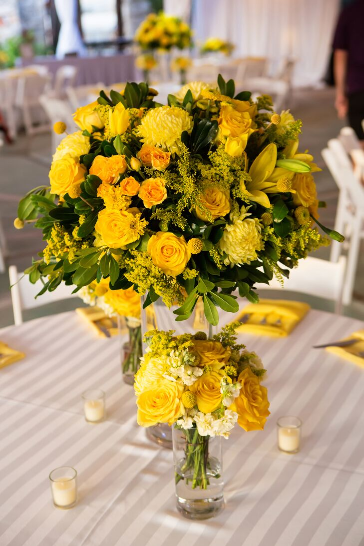 """I love yellow roses, so we incorporated a lot of those, as well as marigolds, since we got married on the Dia de los Muertos,"" says the bride."
