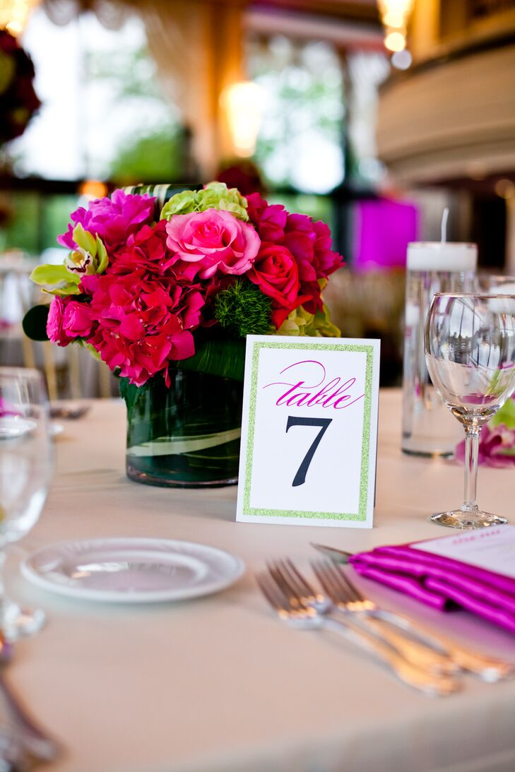 Bright Pink and Green Rose and Hydrangea Centerpieces and Sparkly Table Numbers
