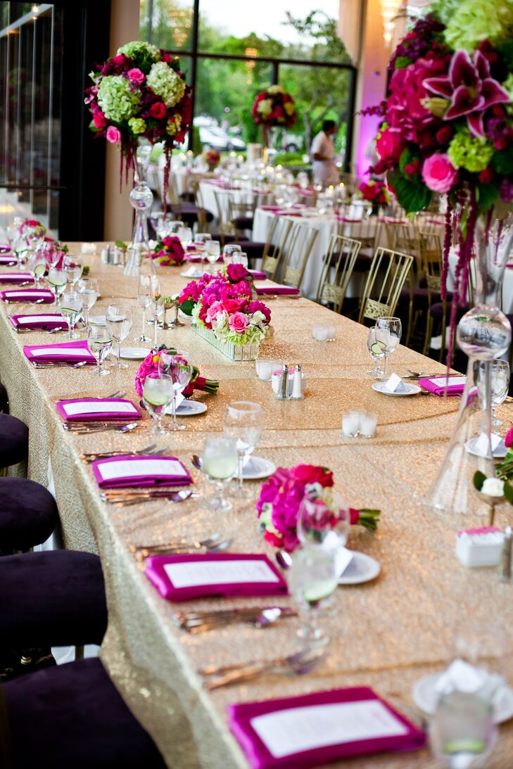 Sparkly Gold Reception Table With Pink And Green