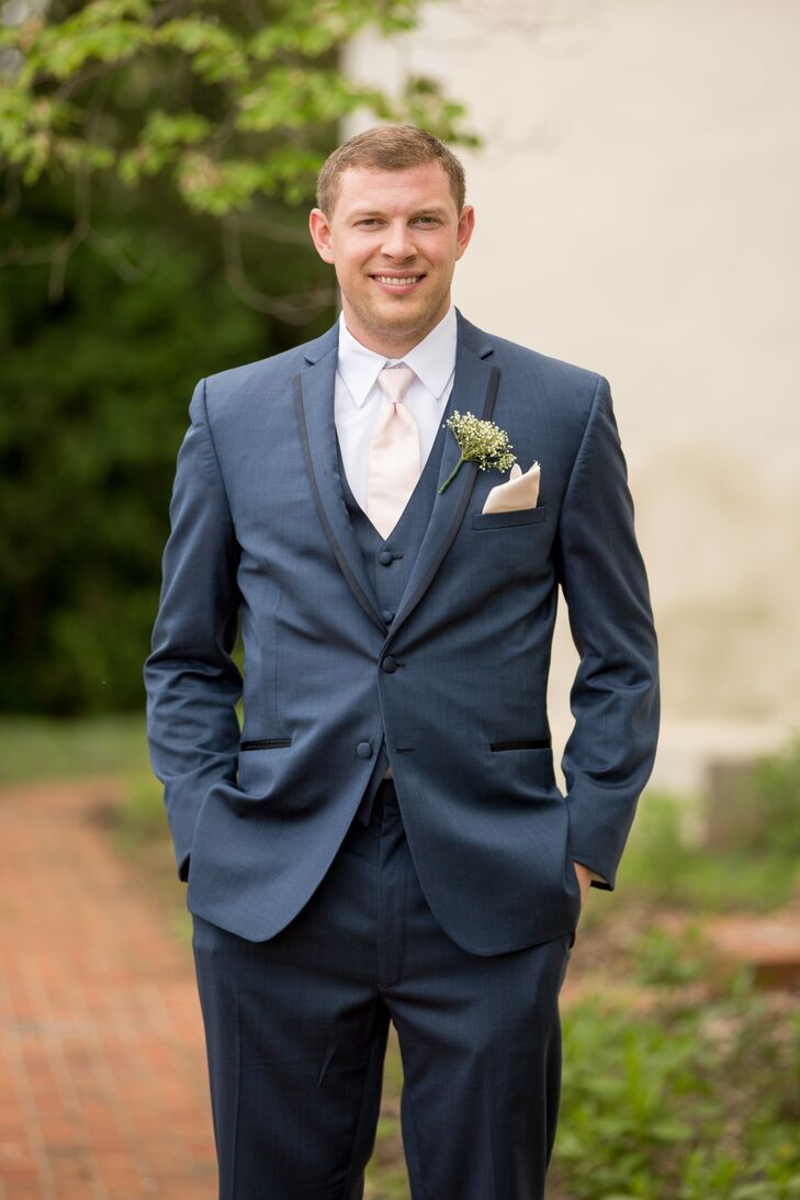 Slate Blue Groom\'s Suit With A Pale Peach Tie