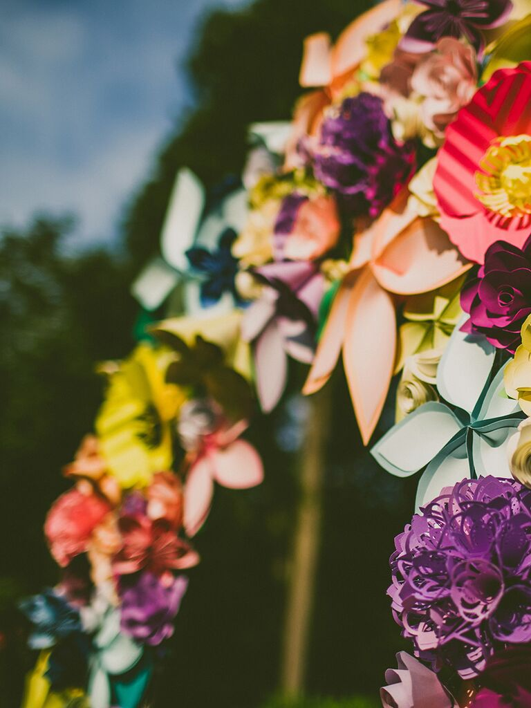 Colorful Paper Wedding Ceremony Arch