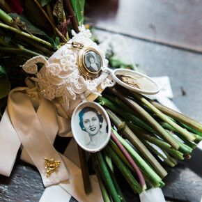 Lace And Ribbon Locket Bouquet Wrap