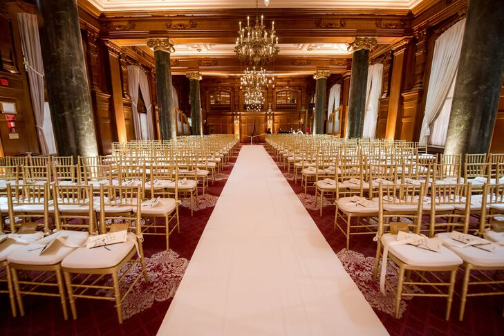 The ceremony was held in the decadent Willard room, which featured marble pillars and gold chandeliers. Beth and Stephen walked down an ivory aisle, and their guests sat in gold chiavari chairs during the ceremony.