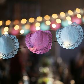Diy purple wedding decorations accents doily wedding decor junglespirit Images